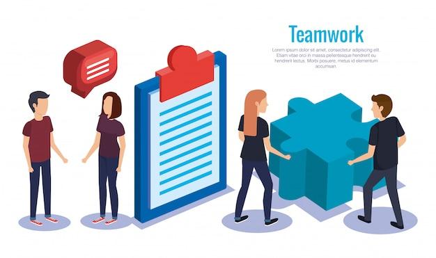 Gruppe von personenen-teamarbeit mit geschäft