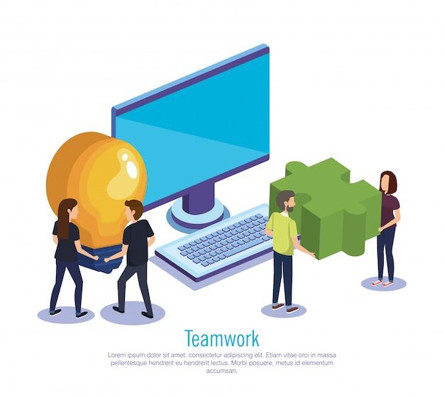 Gruppe von personenen-teamwork mit computer