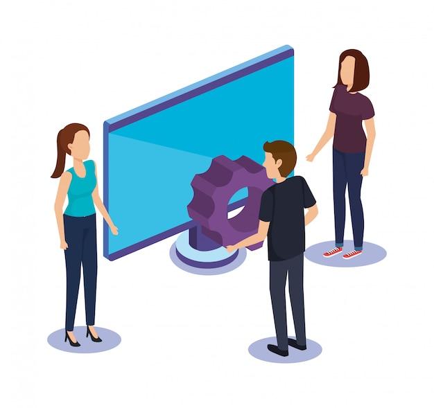 Gruppe von personenen-teamwork mit monitorcomputer