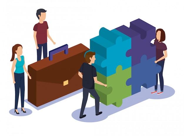 Gruppe von personenen-teamwork mit puzzlespiel