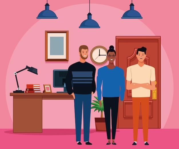 Gruppe von personenenavatarazeichentrickfilm-figur