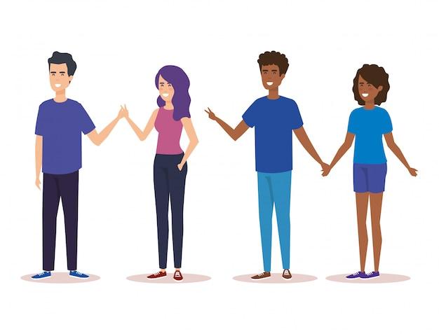 Gruppe von personenencharaktere