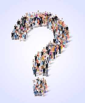 Gruppe von personenenfragenbeschriftung