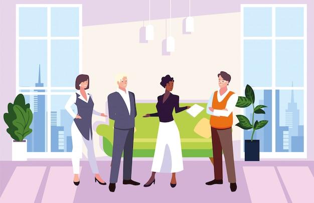 Gruppe von personenengeschäft im arbeitsbüro, koordinierte arbeit im freundlichen team im büro
