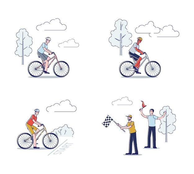 Gruppe von radfahrern auf fahrrädern, die radrennenwettbewerb fahren