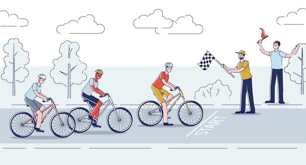 Gruppe von radfahrern beenden rennradrennen marathon athlet auf fahrrad