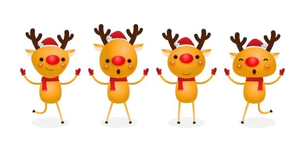 Gruppe von rentieren, die weihnachtsmützen tragen