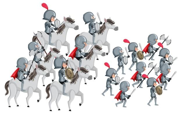 Gruppe von rittern, die auf weißem hintergrund in den krieg ziehen