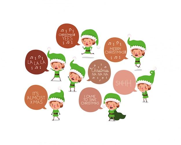 Gruppe von santa helfer elfen