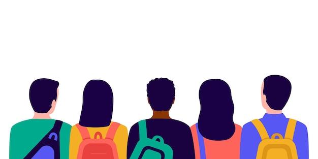 Gruppe von schülern mit taschen in der rückansicht der schule treffen junger männer und frauen