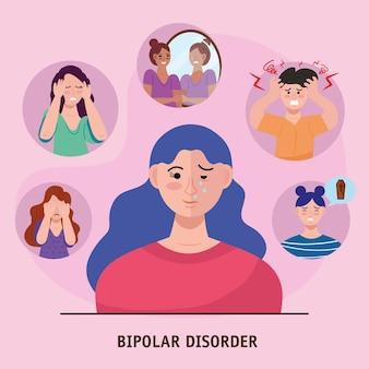 Gruppe von sechs personen mit bipolarer störung