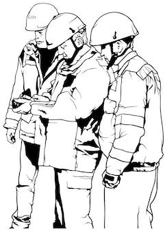 Gruppe von servicemitarbeitern in arbeitsanzügen