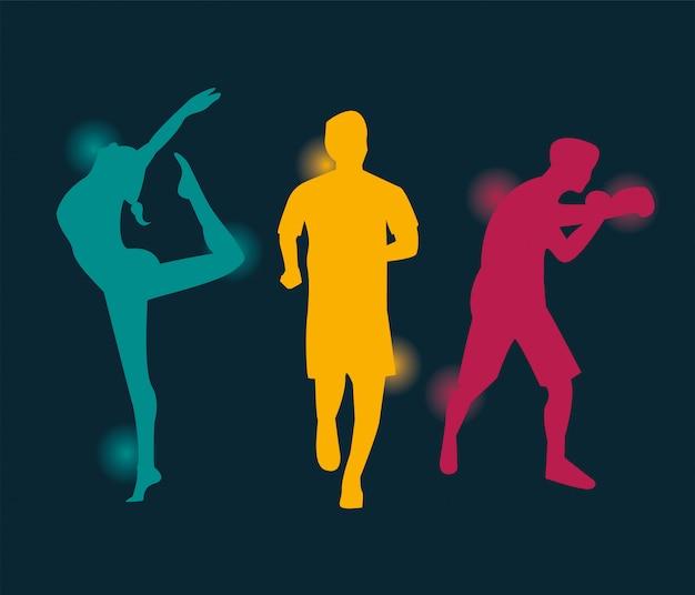 Gruppe von sportlern, die sportschattenbild-vektorillustrationsdesign üben