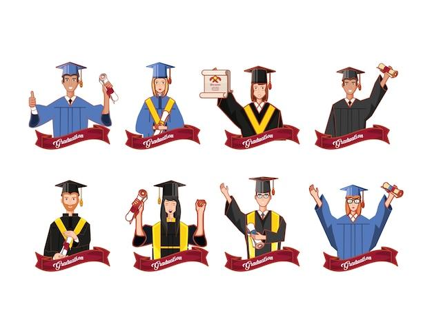 Gruppe von studenten absolvierte zeichen