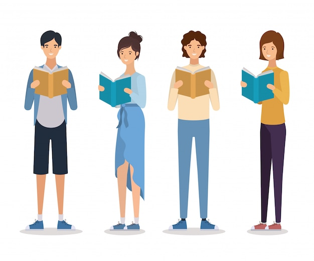 Gruppe von studenten, die bücher zu lesen