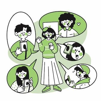 Gruppe von teenagern durch videoanruf doodle verbunden