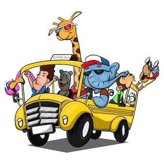 Gruppe von tieren schüler zeichentrickfiguren sind sehr glücklich, wenn sie mit dem schulbus zurück in die schule gehen