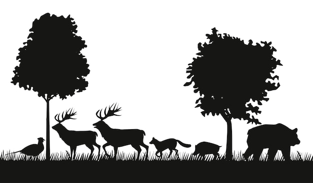 Gruppe von tierfiguren silhouetten in der dschungelszene