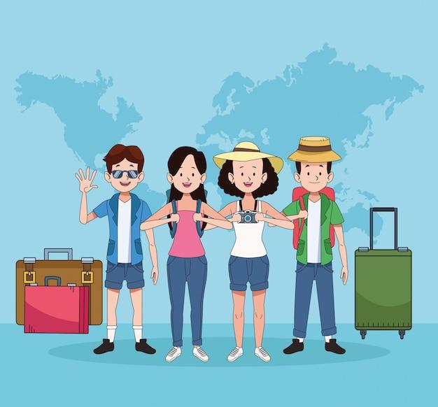 Gruppe von touristen mit weltkarten und koffern