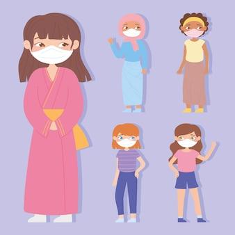 Gruppe von verschiedenen mädchen, die gesichtsmaske für virenschutz tragen
