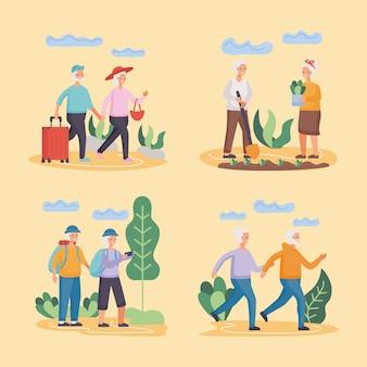 Gruppe von vier aktiven seniorenpaaren, die aktivitätencharakter-illustrationsdesign üben