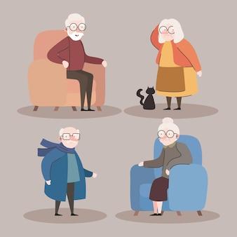 Gruppe von vier großeltern, die in den vektorillustrationsentwürfen der sofaschilder sitzen