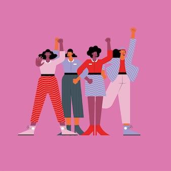Gruppe von vier mädchen, die gegen charaktere protestieren
