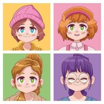 Gruppe von vier niedlichen mädchen manga anime charaktere illustration