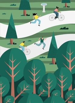 Gruppe von vier personen, die aktivitäten im illustrationsdesign der parkszene üben