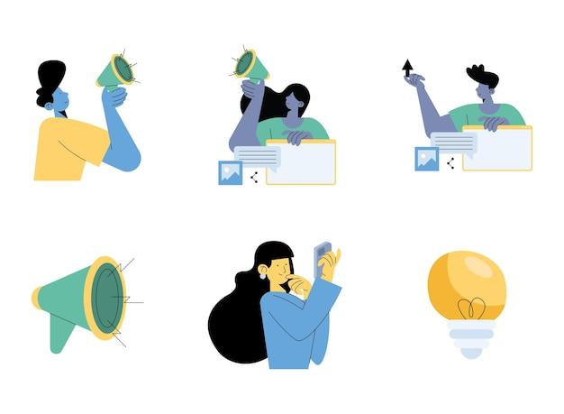Gruppe von vier personen mit digitalem marketing stellte ikonen-illustrationsdesign ein