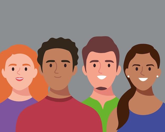 Gruppe von vier personen