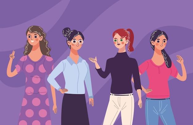 Gruppe von vier schönen jungen frauenfiguren, die illustration feiern