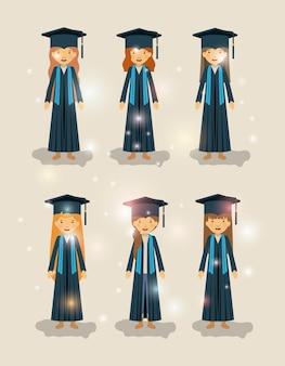 Gruppe von weiblichen studenten absolventen zeichen
