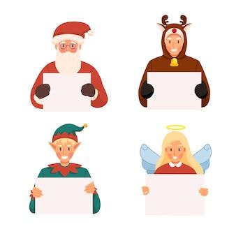 Gruppe von weihnachts-avatar-leuten, die leeres plakat oder leere bannerillustration halten