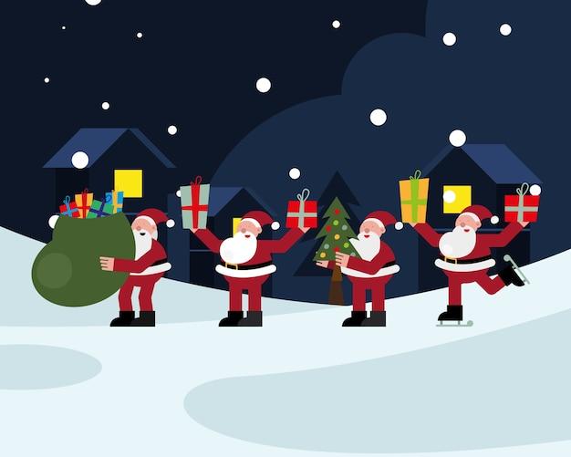 Gruppe von weihnachtsmännern mit geschenk-weihnachtsfiguren-vektorillustrationsdesign