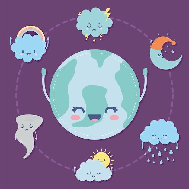 Gruppe von wettersymbolen über einem lila illustrationsdesign