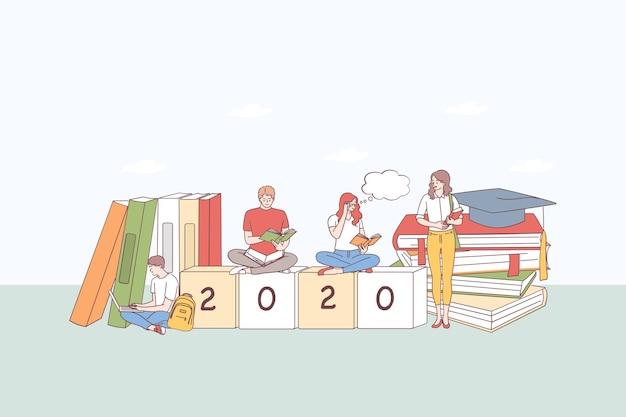 Gruppe von zangenschülern, die auf einem stapel bücher sitzen, lernen, texte schreiben und an 2020 würfel unten denken