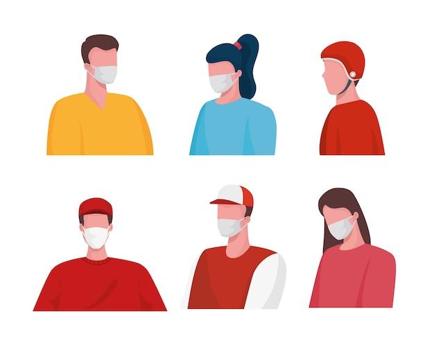 Gruppe von zustellern, die medizinische masken und kunden tragen