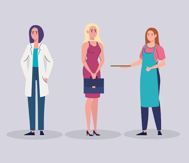Gruppe weiblicher arbeiterfiguren