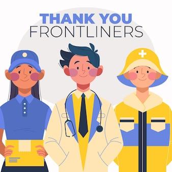 Gruppe wesentlicher mitarbeiter mit dankesbotschaft illustriert
