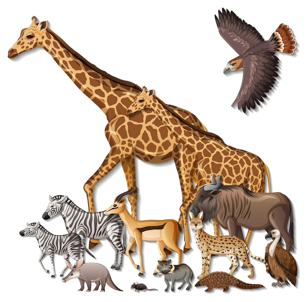 Gruppe wilder afrikanischer tiere auf weißem hintergrund