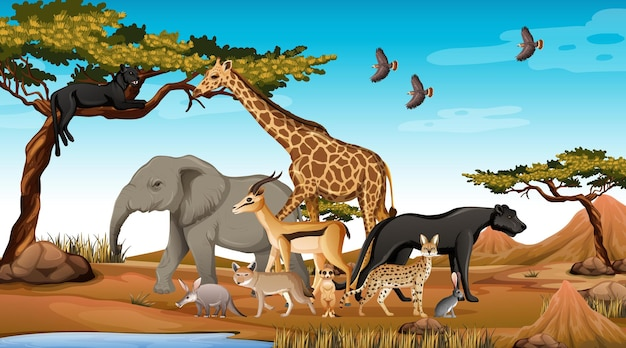 Gruppe wilder afrikanischer tiere in der waldszene
