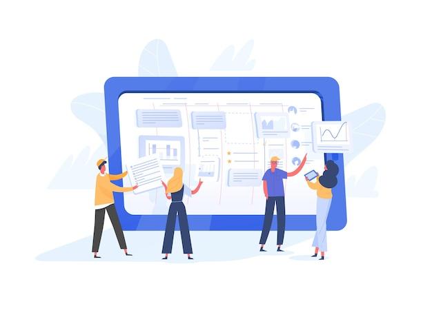 Gruppe winziger büroangestellter, die aufgaben auf dem bildschirm eines riesigen tablet-pcs organisieren. agile, scrum- oder kanban-methode des projektmanagements für die betriebliche arbeitsorganisation. moderne flache vektorillustration.