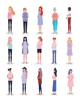 Gruppe zwischen verschiedenen rassen frauen-schwangerschaftscharakter