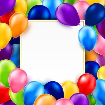Gruppen bunte glänzende und grobe ballone 0001