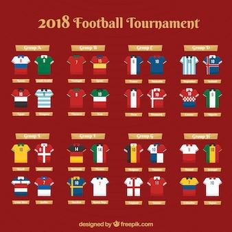 Gruppen der Fußballweltmeisterschaft mit verschiedenen Flaggen