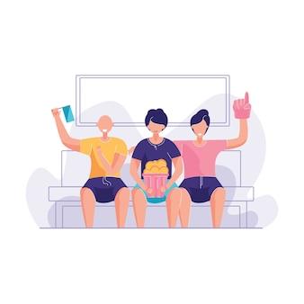 Gruppen-freunde, die cheerfull couchvektorillustration sind