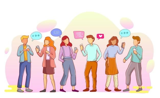 Gruppen von menschen, die miteinander sprechen oder sprechen. sammlung von chat-männern und frauen mit sprechblasen auf weißem hintergrund. bunte vektorillustration im flachen cartoon-stil.
