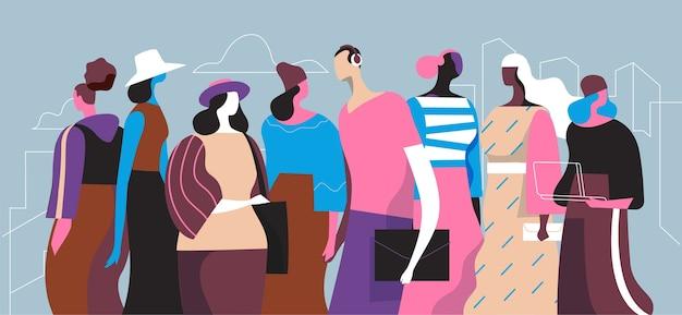 Gruppen von menschen in schicken kleidern