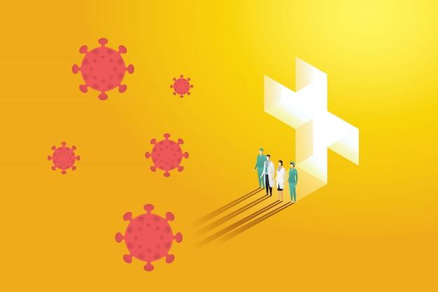 Gruppenarzt team stehend kampf covid-19 coronavirus im hintergrund orange bei licht fällt. symbol für medizin, illustration